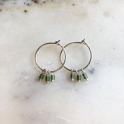small silver jade hoops