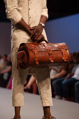 Huda Negassi Leather Barrel Bag