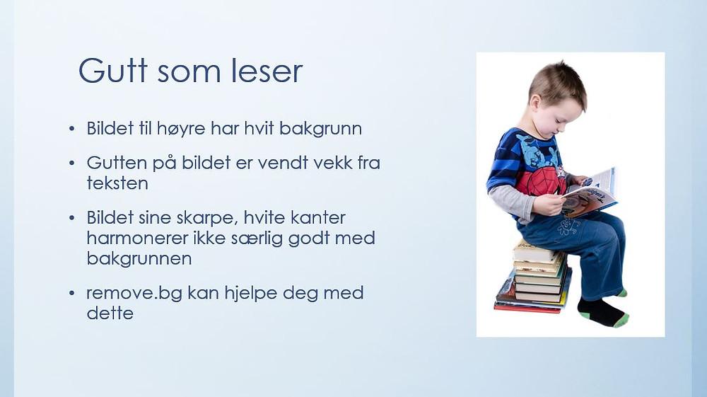 Skjermdump av egen PowerPoint, bilde fra: https://www.pickpik.com/child-book-boy-studying-educational-wisdom-41580#:~:text=boy%20reading%20book%20sitting%20on%20stack%20of%20books