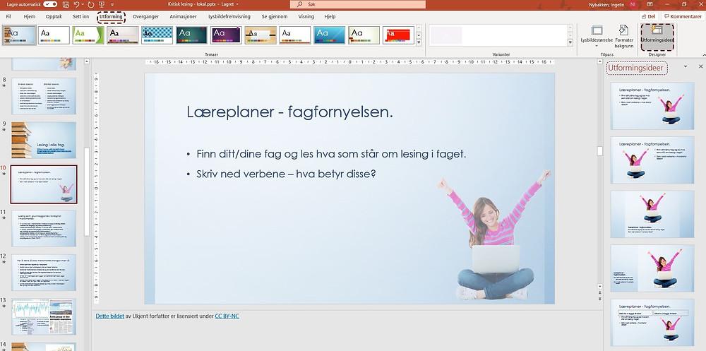 Skjermdump av egen PowerPoint