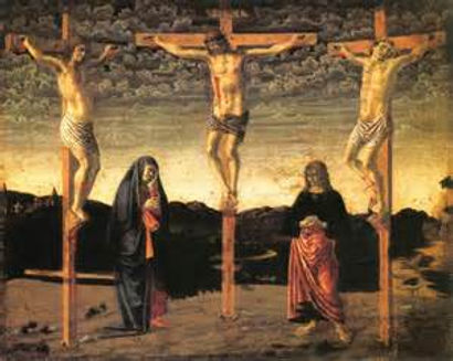 Jesus is crucified with criminals on his left and right side.