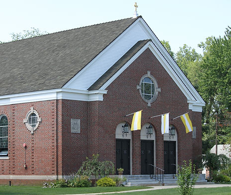 Exterior view of Holy Cross Catholic Church, Springfield, MA, USA.