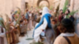 "Jesus enters Jerusalem on Palm Sunday to shouts of ""Hosanna in the Highest"""