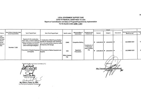 COVID-19 FINANCIAL ASSISTANCE TO LGU's for the quarter ended JUNE 7,2021