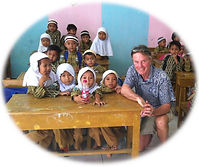 Neil hawkes visiting a school in Indonesia
