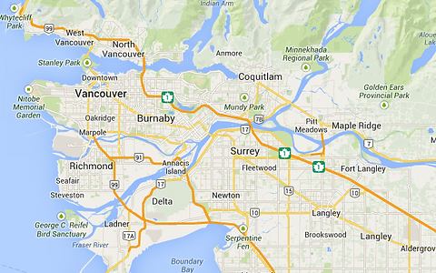 Map of Vancouver and the Lower Mainland