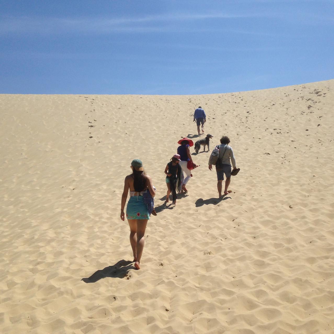 trekking up the dune