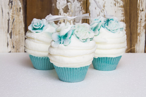 Blue Hyacinth Cupcake Candle