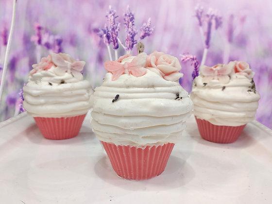 Lavender Rose Cupcake Candle