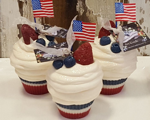 4th of July Soy Cupcake Candles
