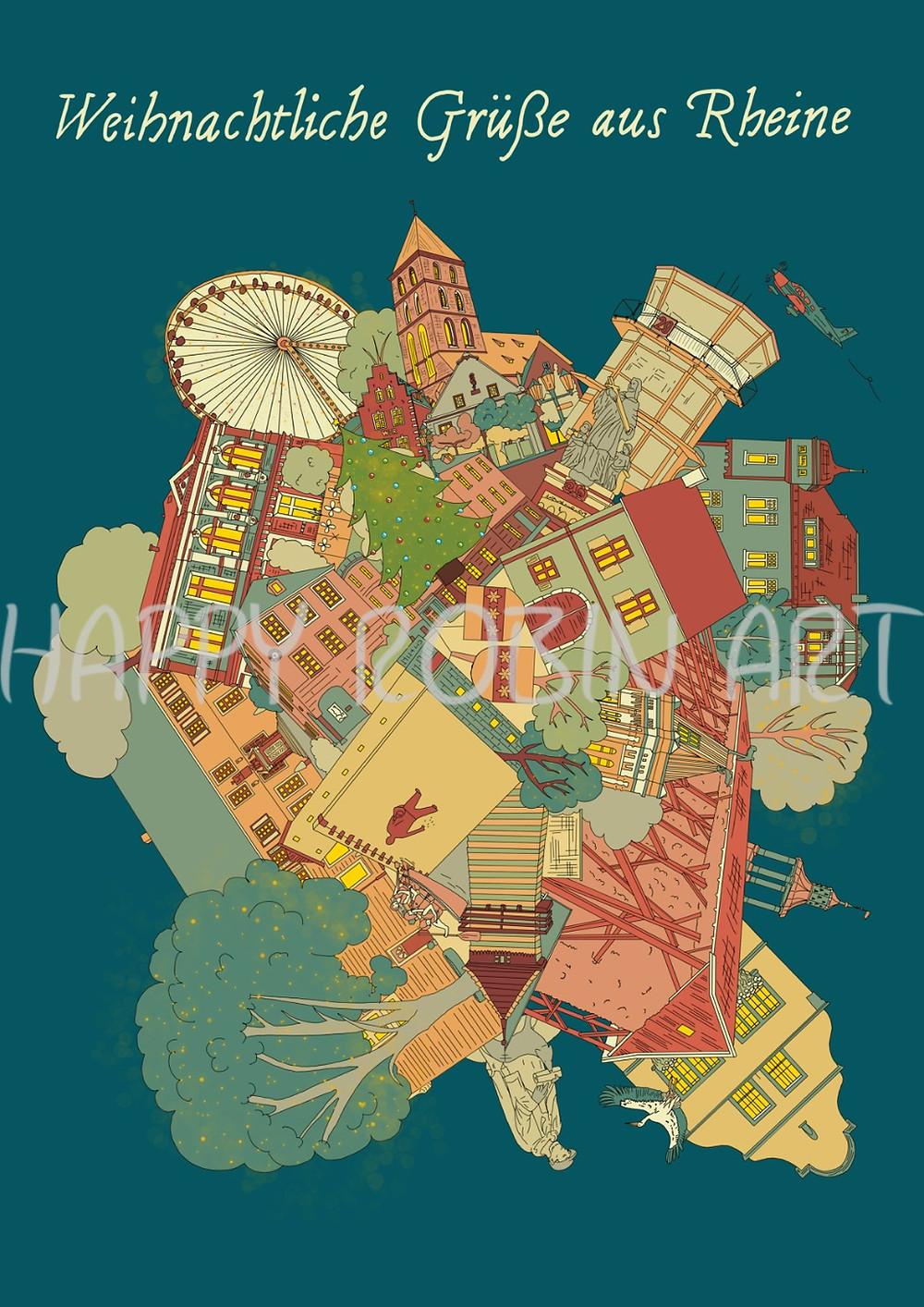 Diese liebevoll designte, etwas andere Ansichtskarte von Rheine, verkaufe ich auf dem Weihnachtsmarkt.
