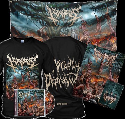 Kropos - Worldly Depraved (T-shirt + CD + Flag Bundle)