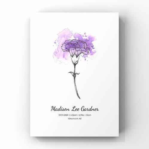 January Birth Flower Personalised Print