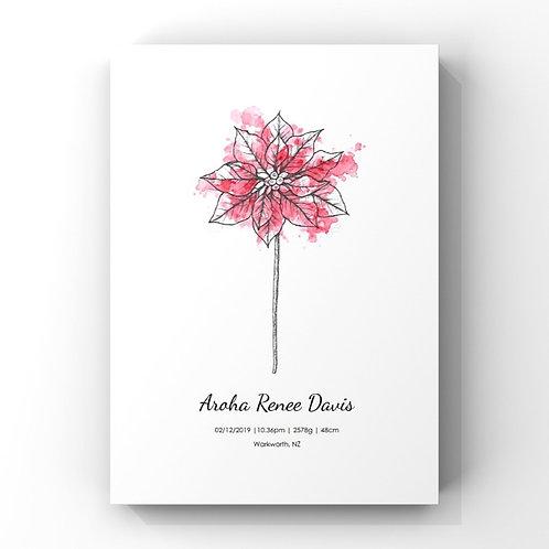 December Birth Flower Personalised Print