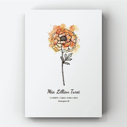 October Birth Flower Personalised Print