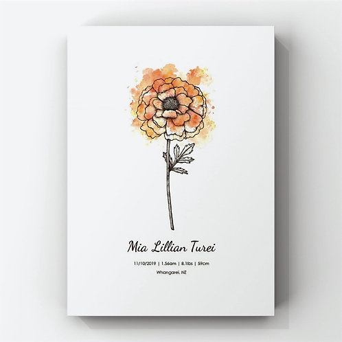 October Birth Flower Personalised Print