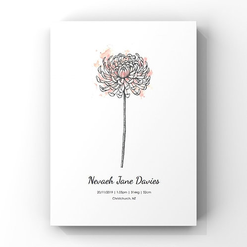 November Birth Flower Personalised Print