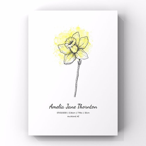 March Birth Flower Personalised Print