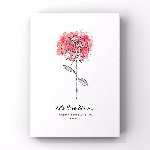 June Birth Flower Personalised Print