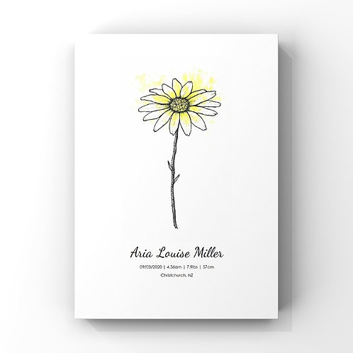 April Birth Flower Personalised Print