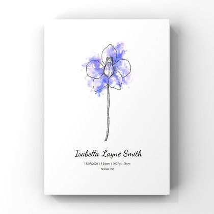 July Birth Flower Personalised Print