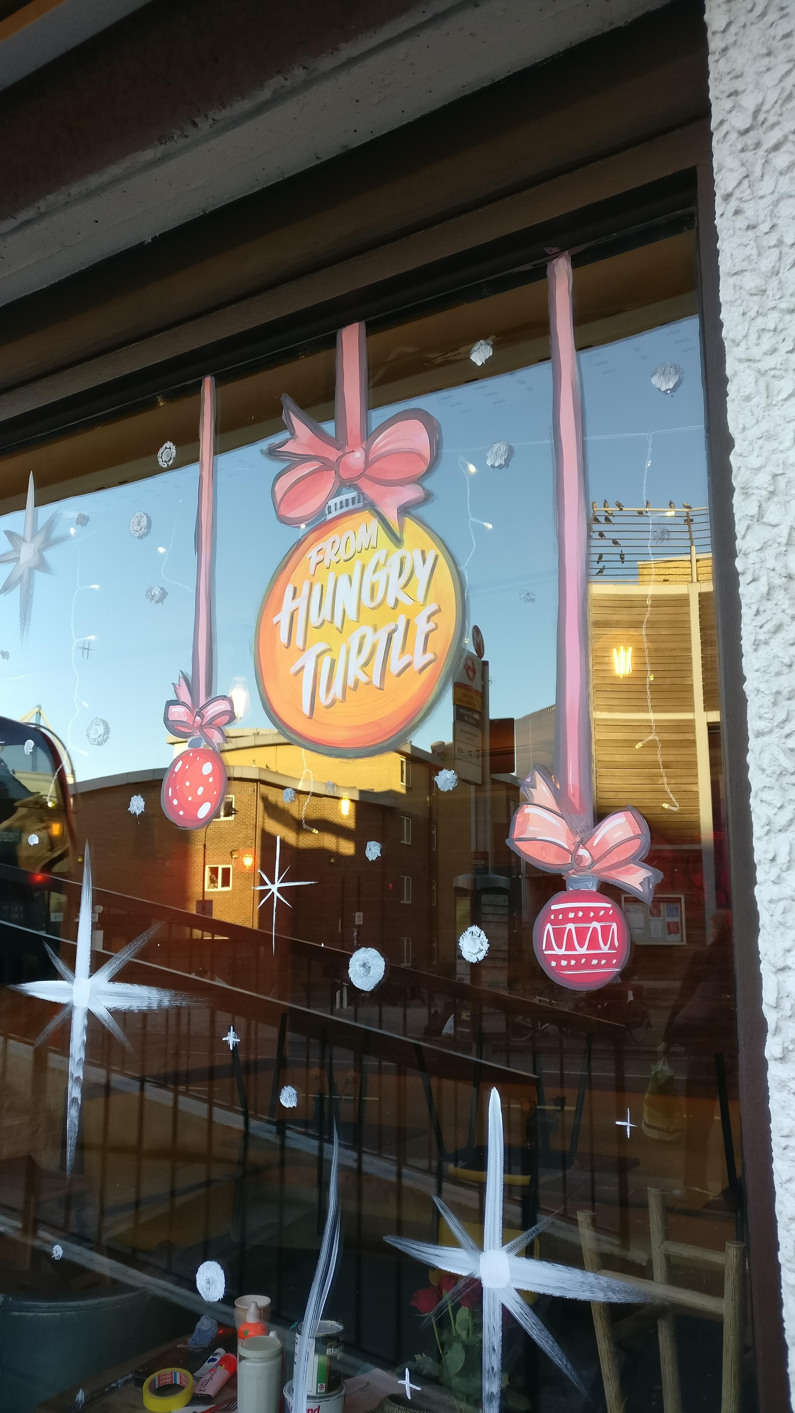 Hungry Turtle Pizza Christmas Window
