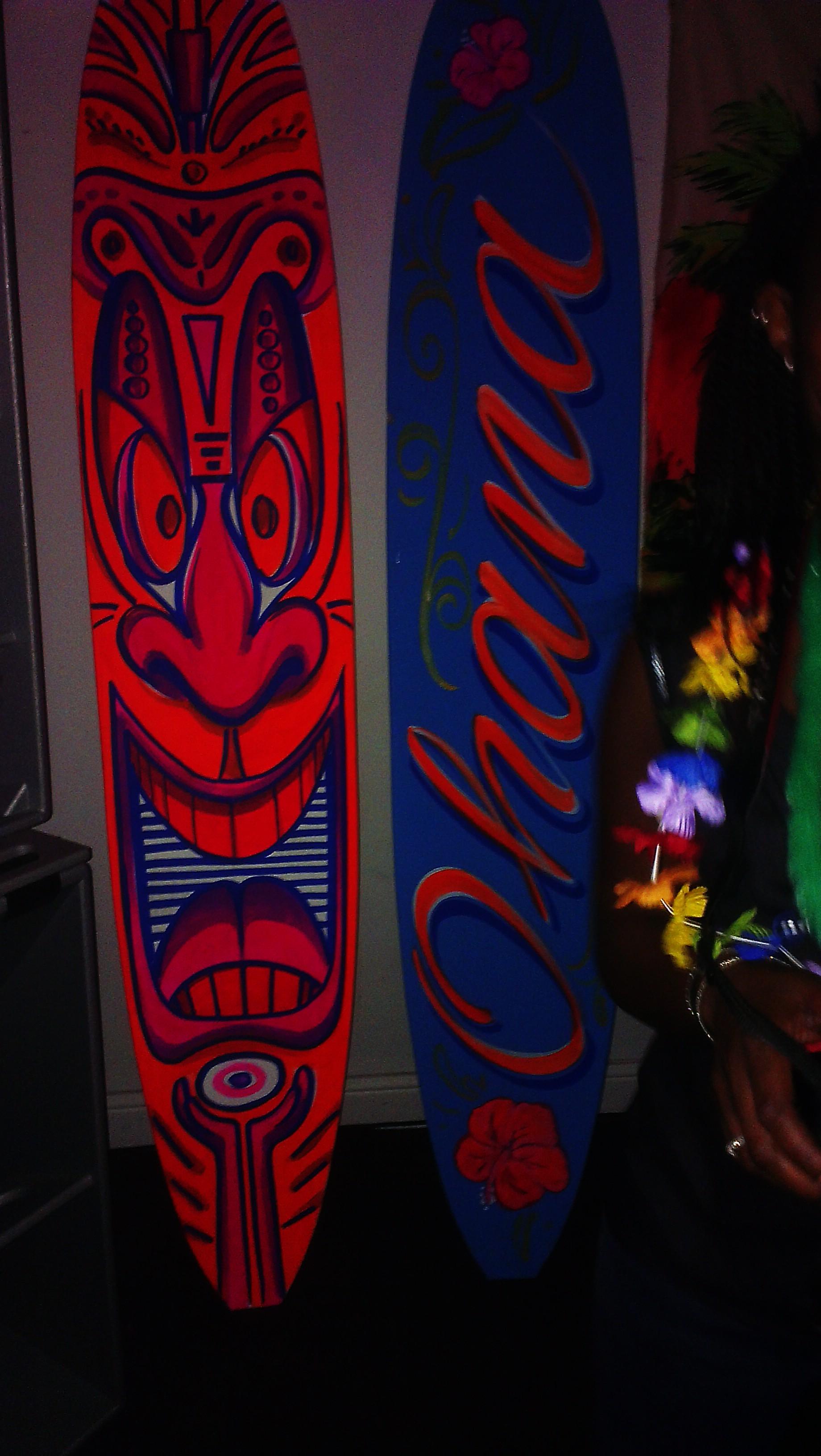 Tiki bar surf boards