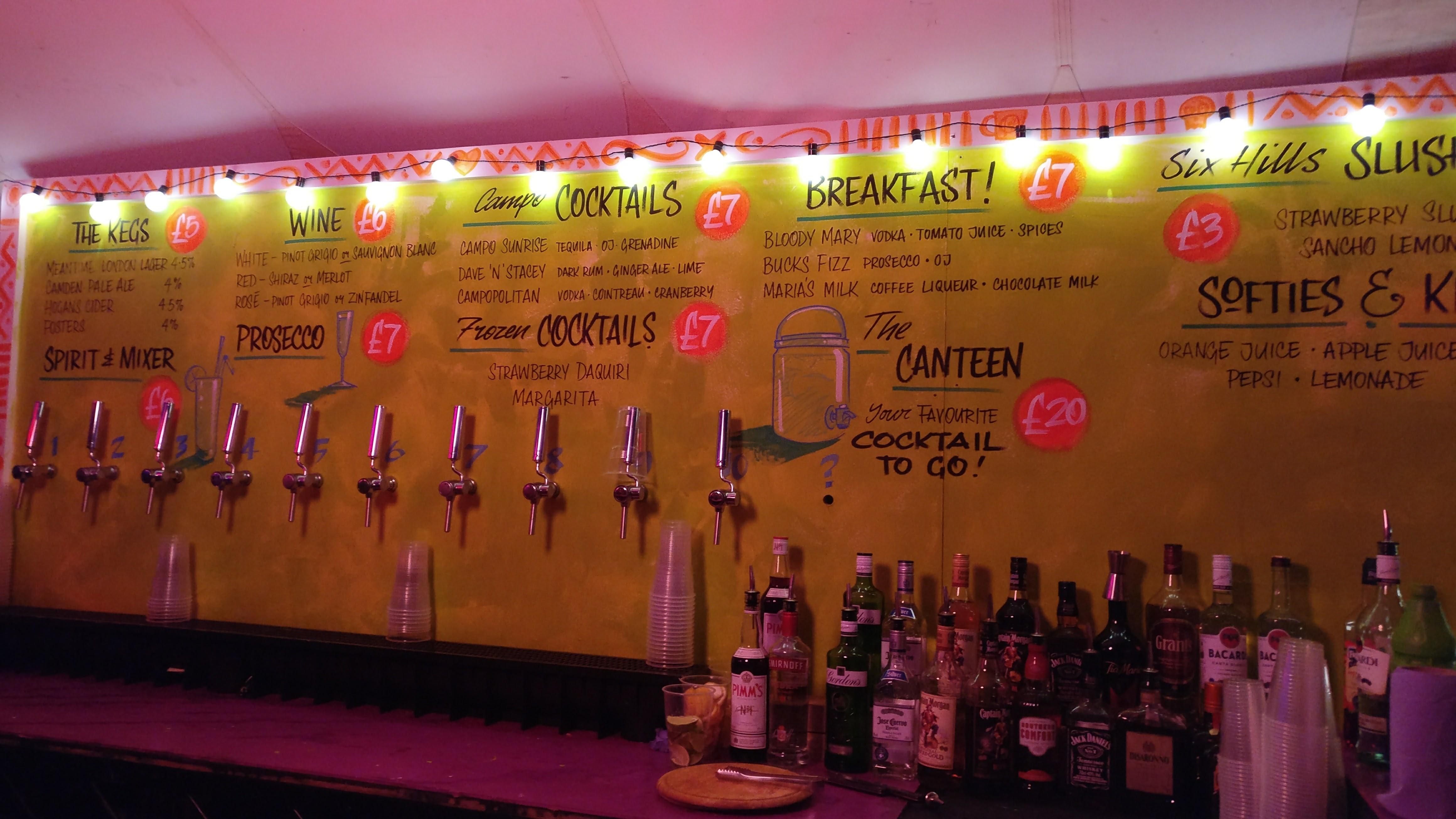 Festival bar menu