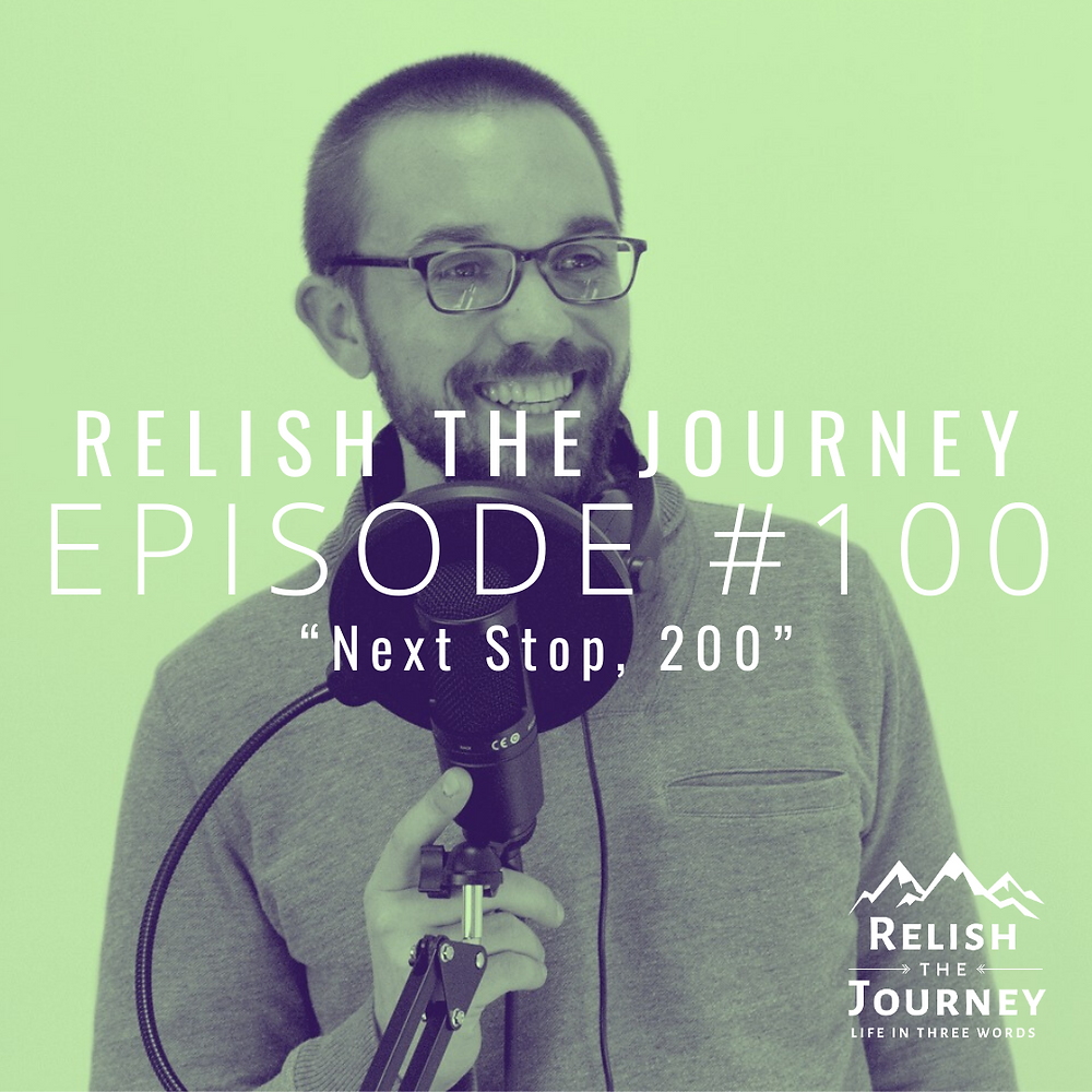 Myles Biggs, host of Relish The Journey posing with a microphone to commemorate Episode 100.