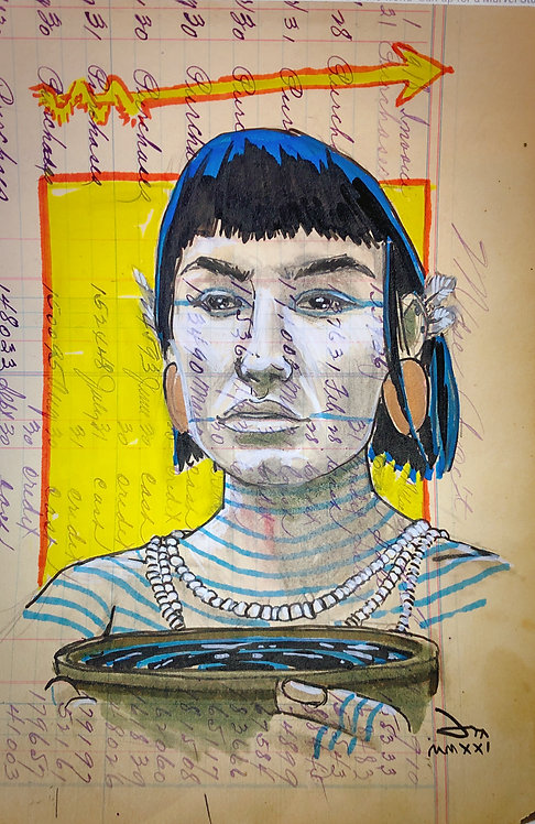 Ledger doodle: Itti̲sh í̲ 'shi (She carries the medicine)
