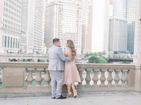 Paloma & Edwin's Engagement Session | Wrigley Building, Chicago | Emma Belen Photography
