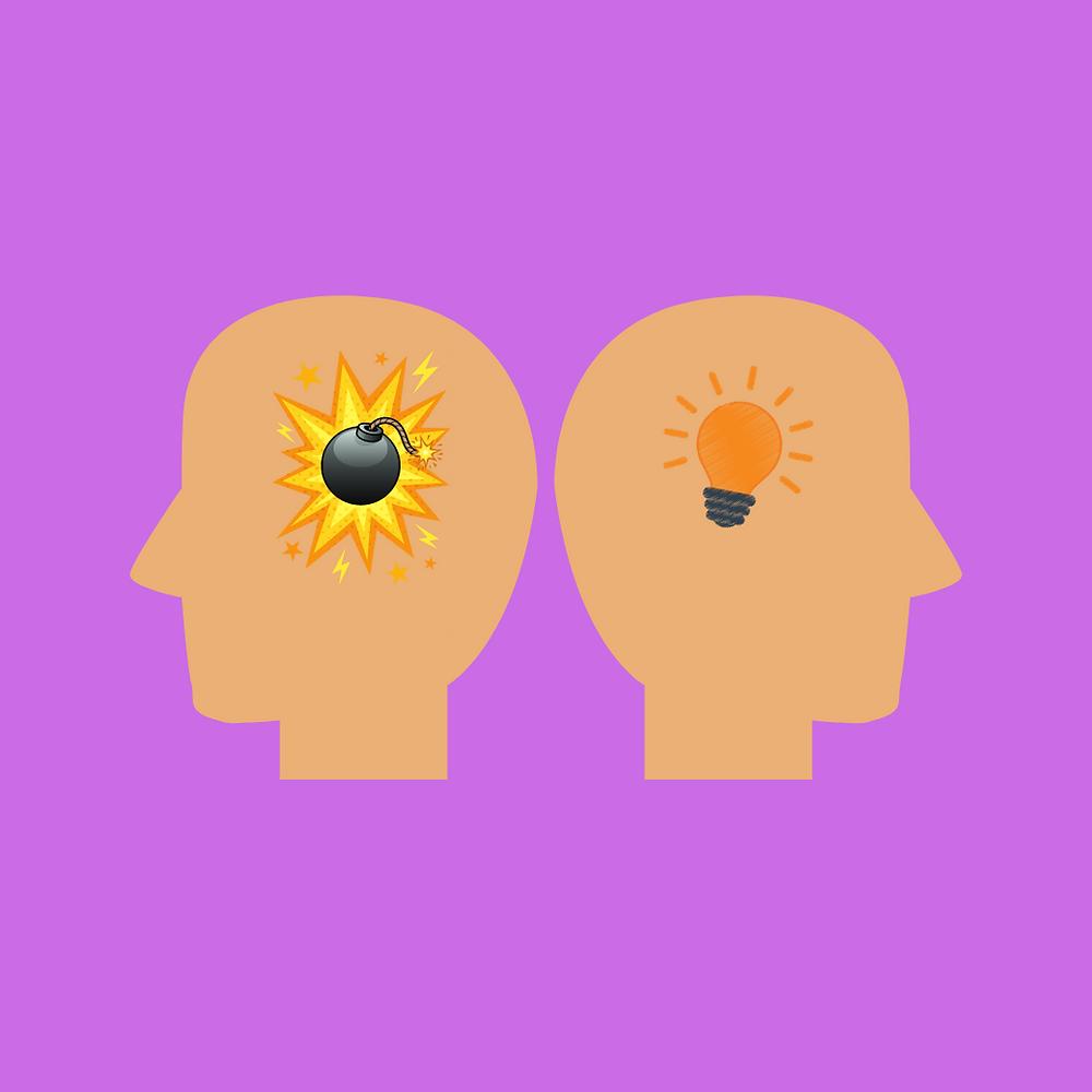 Duas cabeças, uma com uma bomba e outra com uma lâmpada acesa, imagem de um bom pensamento