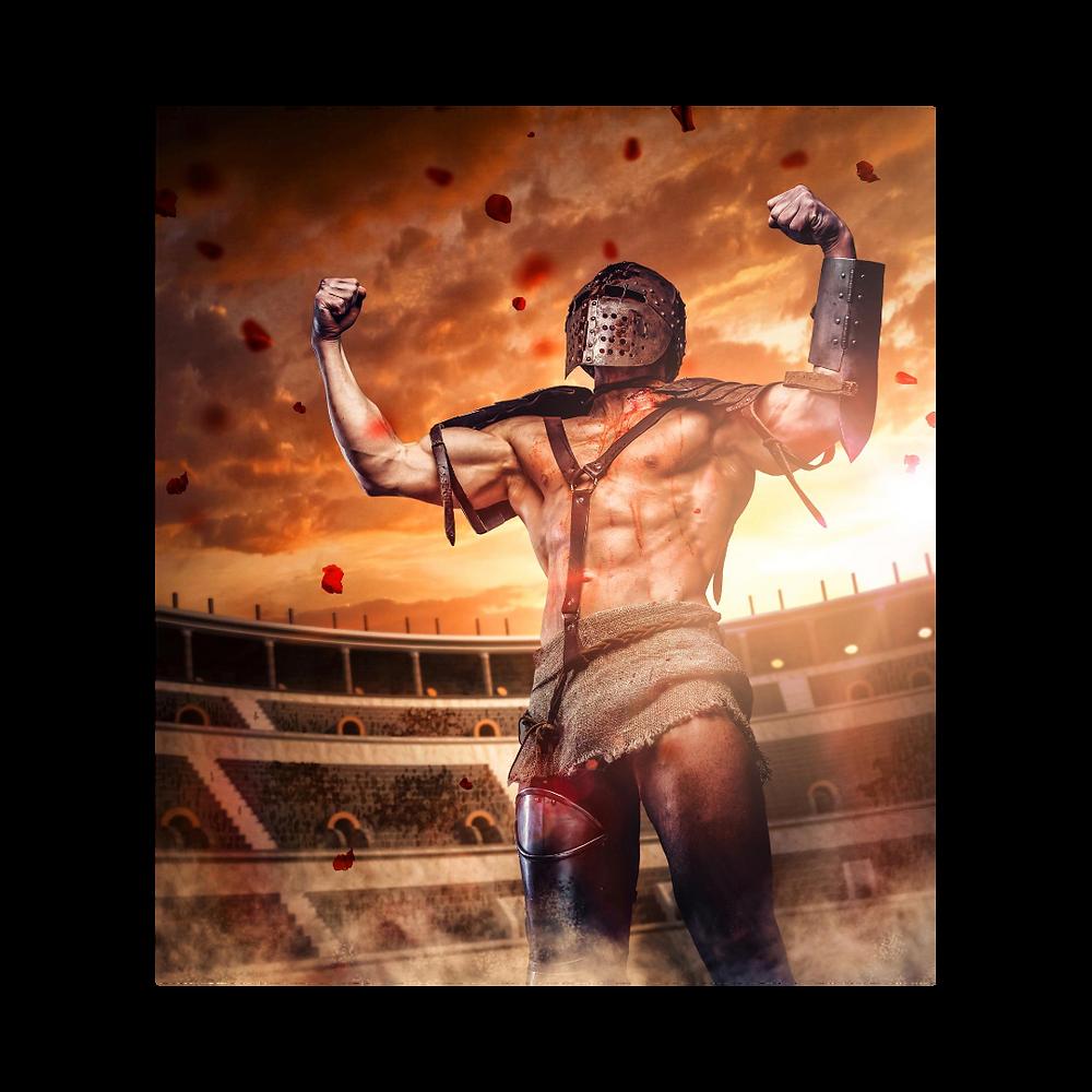 Nesta foto, no centro de uma grande arena estilo o Coliseu Romano, um guerreiro ergue seus braços em sinal de sua vitória. Venceu sua batalha!