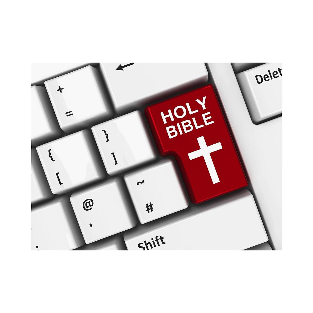 Imagem de um teclado, mas no lugar da tecla ENTRA com a qual se dá movimento às ações, está escrito em inglês BÍBLIA SAGRADA, indicando que a tecla principal é a escuta da Palavra de Deus.