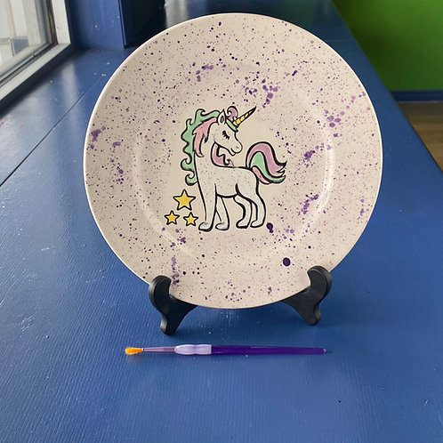Pretty Unicorn with Stars Rim Plate
