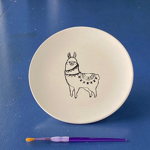 Cute Llama Coupe Plate