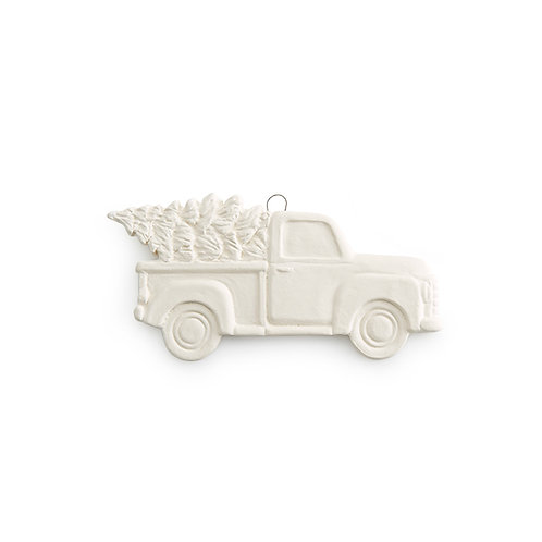 Vintage Truck With Tree Flat Ornament