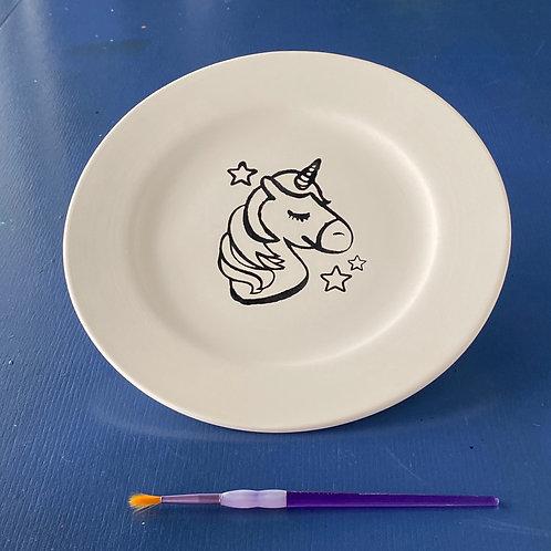 Unicorn Head with Stars Plate with Rim