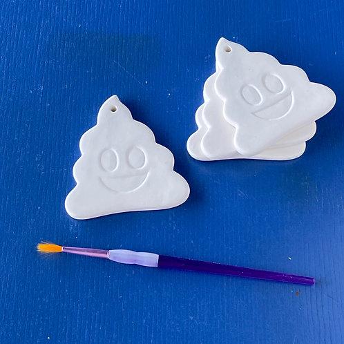 Poop Emoji Flat Ornament