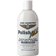 Description: Polish ALL fine finishing polish is a easy-on, easy-off liquid polish. Removes oxidation and fine scratches from paint, plastic, aluminum, silver and other metals. Can be used by hand or with power polisher. Keep clean and protected with Wash Wax ALL.  Use on: Smoking rivets and aluminum.  Presentations: 16 oz & 1/2 Gallon