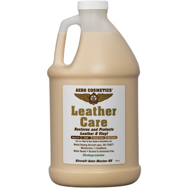 Description: Leather Care restores, moisturizes, conditions, and protects Aircraft leather and vinyl. Repels dust and dirt without leaving oily residue. Provides a long lasting barrier against drying and cracking from damaging ultra-violet rays. Use on: Leather & vinyl protection and care.  Presentations: 16 oz & 1/2 Gallon
