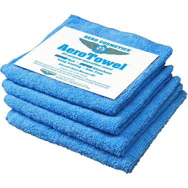 "Description: Aero Towels are an All purpose reusable Microfiber towel. Super soft, absorbent, long-lasting and lint-free. The best towel for all of your cleaning needs. Four (4) washable 16""x16"" Aero Towels per package. Use to wash and clean all surfaces of the aircraft. Microfiber towel will not scratch paint and will not leave any residue."