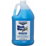 Description: Wash Wax ALL is a biodegradable waterless wash and wax in one. Clean & protect your entire aircraft without water. Developed 25 years ago removes dirt without scratching. Simply spray on and wipe dry, leaves an anti-static, non-stick UV protective coating on all surfaces such as paint, glass, plastic, leather, vinyl, rubber, wood, gel coat, aluminum, granite and other hard surfaces. Meets Boeing Aircraft cleaning Spec. Exterior D6-17487P and Interior D6-7127M. Works well with the Aero Scrubber.  Gently Cleans and Protects leaving a Non-Stick UV Protective Coating on All aircraft surfaces. Just Spray on and Wipe Dry.  ONCE YOU SEE THE DIFFERENCE YOU WILL NEVER USE AUTOMOTIVE PRODUCTS AGAIN! Used by Air Force One, The Military, Airlines, Corporate and private aircraft owners around the world for over 30 years. This is a high quality easy to use product.  Water Based - Alcohol & Ammonia Free. Our plant-based Eco-friendly formula is biodegradable and Safe on ALL surfaces both Inside and Out, Meets Boeing Aircraft (D6-17487P, D6-7127M) & AirBus Industries (09-00-002) and McDonnell Douglass CDS #1 cleaning specifications. Also, Human-Friendly, NO eye or skin irritation like some other automotive products.  Can be used as Waterless Wash or Just spray on after wet washing to Wax As You Dry. Works on wet or dry surfaces. Use on: Bug removal, windows, aluminum, upper surfaces, engine compartment, lower surfaces.  Presentations:  16 oz  -  32 oz  -  1 Gallon -  8 and 16 oz Concentrated.