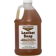 Description: Leather Soap, Safely and gently cleans Aircraft, Car, and Boat leather and vinyl. Removes dirt, grime, body oils, and lotions. Works well with Aero Scrubber. Please Note: Leather cleaners may remove non-original leather or vinyl dye if your leather or vinyl has been repaired or re-dyed only use a damp towel to clean those areas. Any cleaner will remove the dye. Use on: Leather & vinyl cleaning.  Presentations:  16 oz & 1/2 Gallon