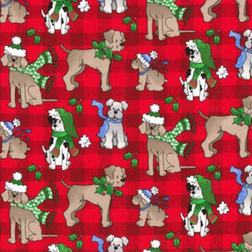 Holiday Pups Red Plaid