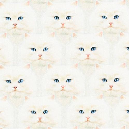 Fluffy White Cat Face Mask