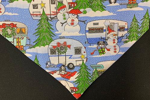 Snowmen Camping Blue Glitter