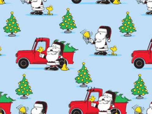 Snoopy Christmas Red Truck - Blue