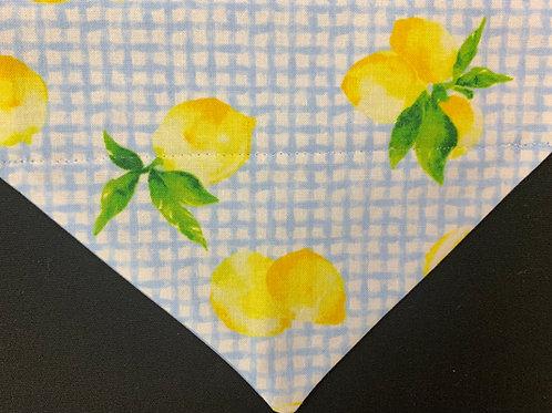 Lemons Blue Gingham