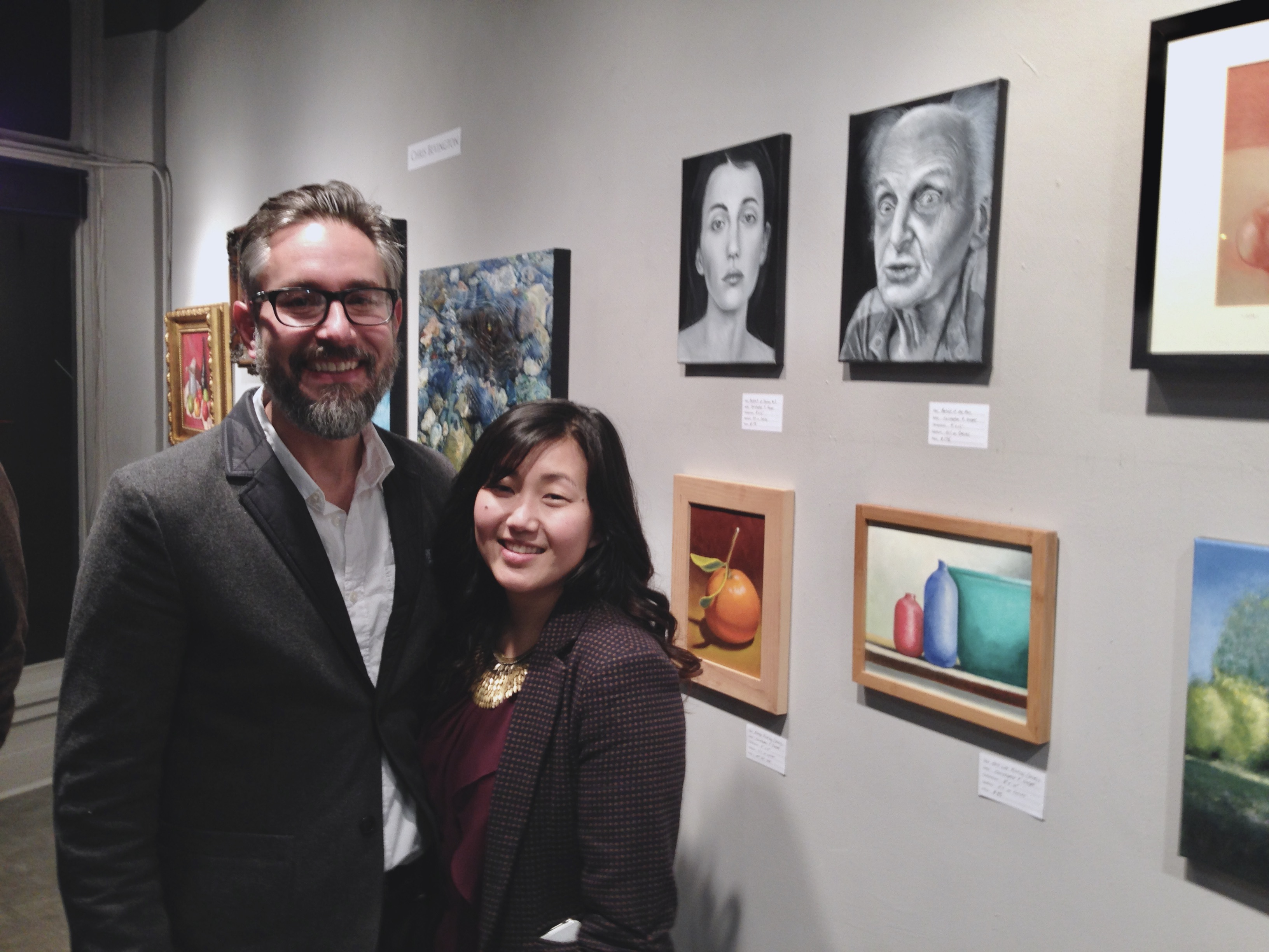 "Artist Christopher Gasper and his wife Jenny at ""Heart Signal"" Show 2014"